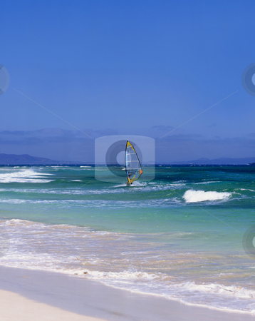 Canary Island wind Surfing stock photo, Windsurfer off the coast of the Canary island of Gran Canaria by Paul Phillips