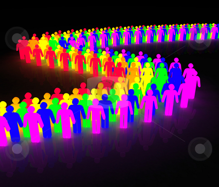 Gay men wave stock photo, Rainbow wave made of multicolored man character by Jean Larue-Frechette