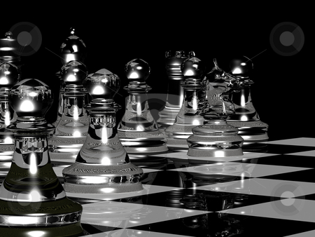 Chess Board Render In Black & White stock photo, 3D render of a chess board with pieces by Jean Larue-Frechette