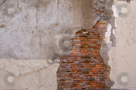 Wall decay texture stock photo, Damaged wall with bricks showing through plaster surface by Jean Larue-Frechette