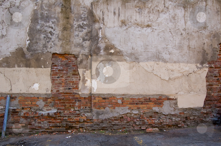 Wall decay texture2 stock photo, Damaged wall with bricks showing through plaster surface by Jean Larue-Frechette