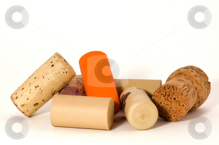Modern and traditional wine cork stock photo, Macro of many different wine cork, isolated on white by Jean Larue-Frechette