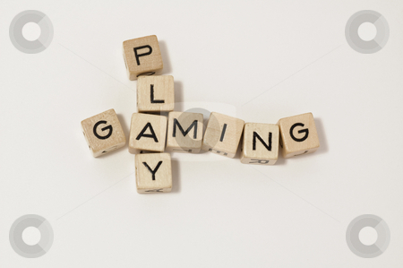 Wood cube play&gaming stock photo, Little wood cube writing the word