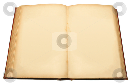 An old book with blank pages ready for text. stock photo, An old book with blank pages ready for text. by Stephen Rees