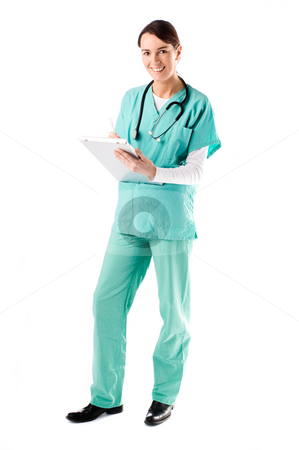 Nurse stock photo, Beautiful nurse taking notes on her clipboard by Tommy Maenhout