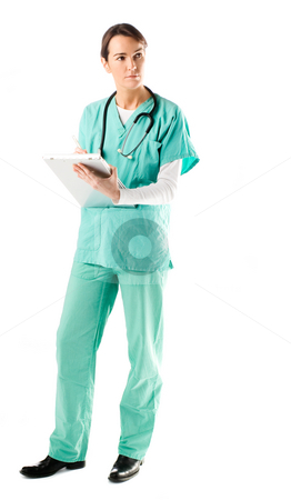 Nurse stock photo, Beautiful nurse taking a reading from a machine by Tommy Maenhout