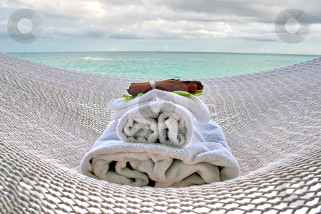 Hammock and spa stock photo, White hammock and  aromatherapy spa stuff. by Crystal Kirk