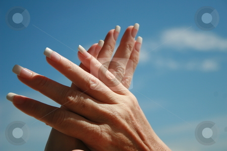 Manicure stock photo, A womans beautiful hands with a fresh manicure and acrylic nails. by Crystal Kirk