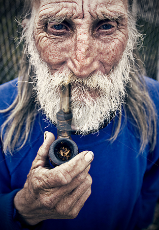 Old Man with Pipe stock photo, Photo by Brett Benham/Brooks Institute  2008 by Brett Benham