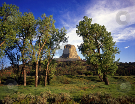 Devils Tower Wyoming stock photo, Devils Tower National Monument, located in Wyoming. by Mike Norton