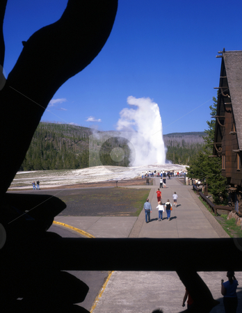 Old Faithful Yellowstone stock photo, The Old Faithful Geyser in Yellowstone National Park, Wyoming, photographed from the Old Faithful Inn. by Mike Norton
