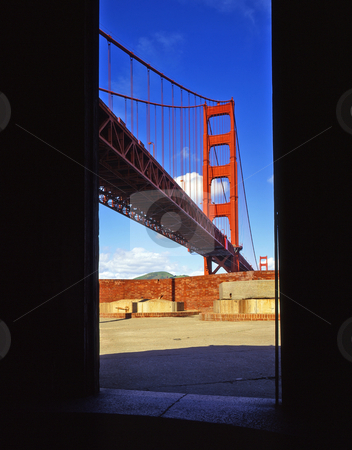 Golden Gate Bridge & Fort Point stock photo, The Golden Gate Bridge, in San Francisco, California, photographed from Fort Point. by Mike Norton