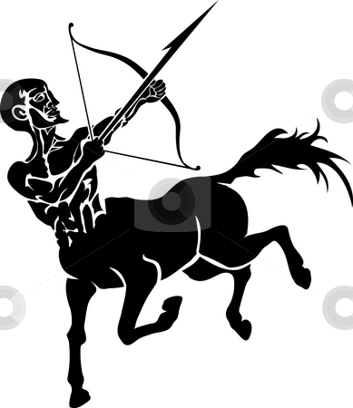 Centaur. stock photo, Monochrome illustration of a stylised Centaur with a bow and arrow by Christos Georghiou