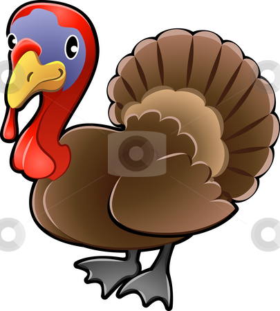 Turkey stock photo, A cute turkey  farm animal vector illustration. by Christos Georghiou
