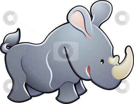 Cute Rhino Vector Illustration stock photo, A cute rhino rhinoceros vector illustration by Christos Georghiou