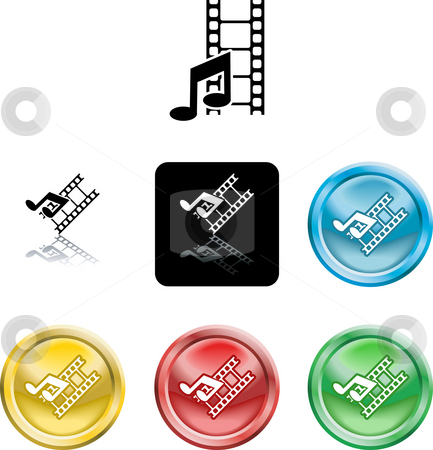 Movie and music media icon stock photo, Several versions of an icon symbol of stylised music note and movie film by Christos Georghiou