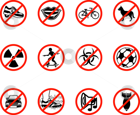 No Icons  stock photo, No icons; A series set of icons all outlining things that are prohibited or being called on to be banned! E.g. No talking, no cycling, no dogs, no ball games etc. by Christos Georghiou