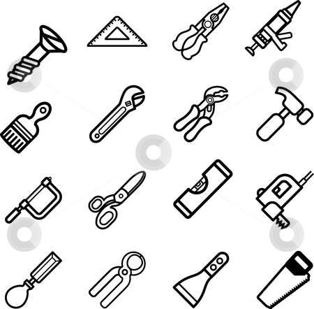 Tool icon series set stock photo, A series set of tool icons by Christos Georghiou