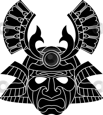 Monochrome samurai mask stock photo, An illustration of a fearsome monochrome samurai mask by Christos Georghiou