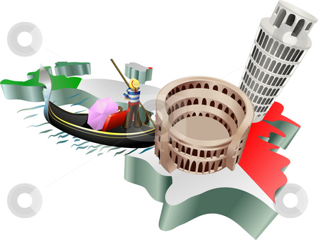 Italian tourism stock photo, An illustration of some tourist attractions in Italy, signifies Italian tourism by Christos Georghiou
