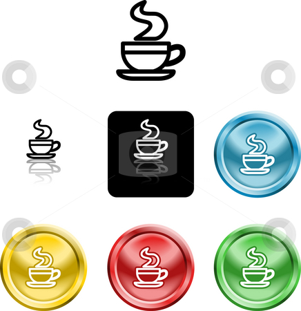Coffee cup icon symbol stock photo, Several versions of an icon symbol of a stylised coffee cup by Christos Georghiou
