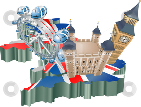 United Kingdom tourism stock photo, An illustration of some tourist attractions in the uk, signifies United Kingdom tourism by Christos Georghiou