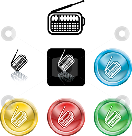 Radio symbol icon stock photo, Several versions of an icon symbol of a stylised radio by Christos Georghiou