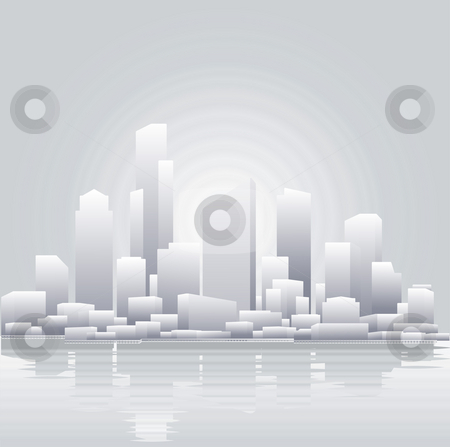 Abstract grey city background stock photo, An abstract vector illustration of a city skyline by Christos Georghiou