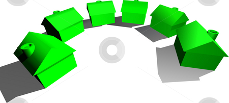 Real Estate Houses Concept stock photo, A conceptual illustration for real estate. Some green stylised houses in a semi circle by Christos Georghiou