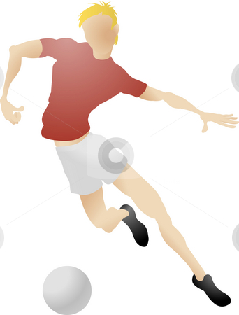 Soccer player stock photo, An illustration of a football player dribbling a ball by Christos Georghiou