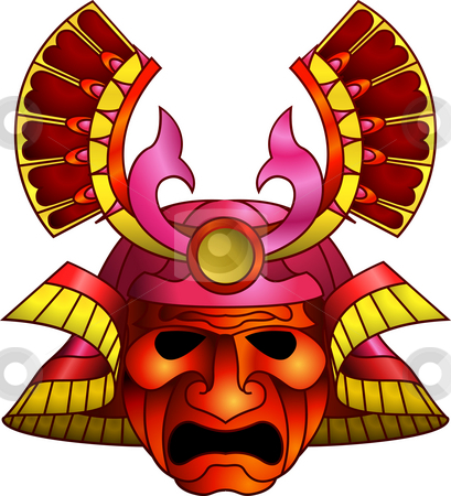 Red samurai mask stock photo, An illustration of a red orange and magenta fearsome samurai mask by Christos Georghiou