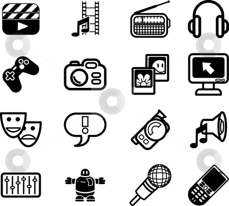 Media icon series set. stock photo, A series set of icons relating to various types of media. by Christos Georghiou