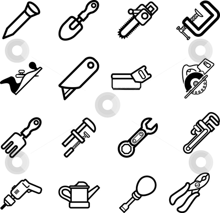 Tool icon series set Icons.  stock photo, A series set of tool icons by Christos Georghiou