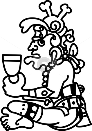 Aztec style person glyph stock photo, An original abstract Aztec style person glyph based on Aztec or Mayan design by Christos Georghiou
