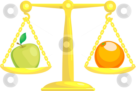 Balancing Or Comparing Apples With Oranges stock photo, A concept vector illustration showing an apple and an orange on scales. Attempting to compare apples and oranges. by Christos Georghiou