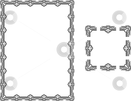 Art Deco Style border frame. stock photo, A Vector illustration of a Art Deco Style border frame; comes with seamlessly tillable component parts so you can make a frame to any size or aspect ratio. by Christos Georghiou