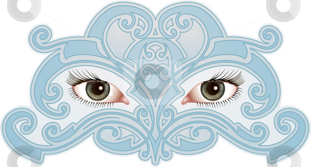 Eye Pattern stock photo, Beautiful eyes surrounded by a mask like pattern by Christos Georghiou
