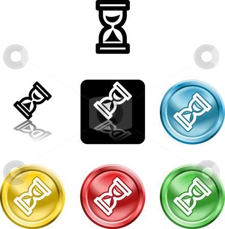 Hour glass icon symbol stock photo, Several versions of an icon symbol of a stylised hour glass by Christos Georghiou