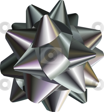 Silver Bow. stock photo, A vector illustration of a pretty silver bow, no meshes used by Christos Georghiou