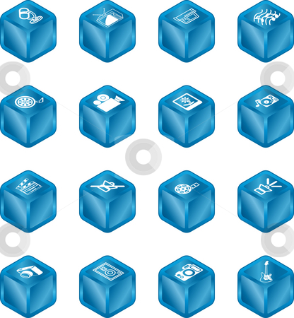 Cube Media Icon Series Set stock photo, A series set of cube icons relating to various types of media. by Christos Georghiou