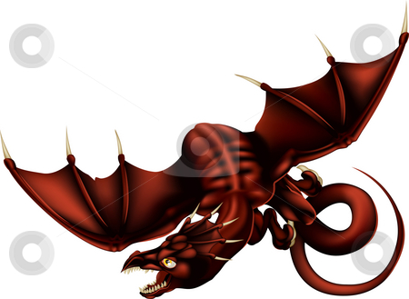 Dragon Vector Illustration stock photo, Vector Illustration of a red dragon flying through the air by Christos Georghiou