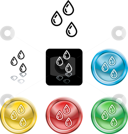 Water droplets icon symbol stock photo, Several versions of an icon symbol of a stylised water droplets by Christos Georghiou