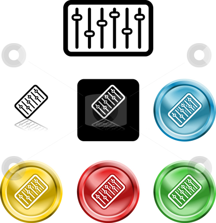 Equaliser stock photo, Several versions of an icon symbol of a stylised graphic or music mixer or equaliser by Christos Georghiou