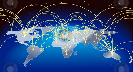 World trade map background stock photo, A world map background with flight paths or trade routes by Christos Georghiou