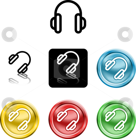 Headphones icon symbol stock photo, Several versions of an icon symbol of a stylised by Christos Georghiou