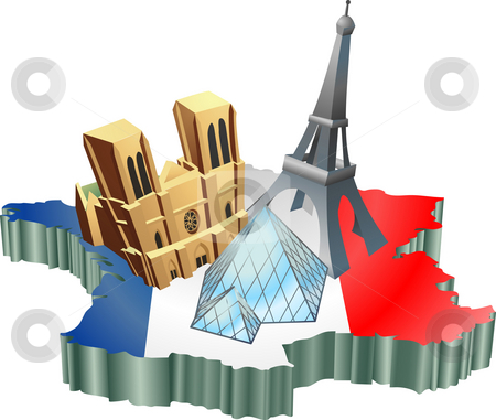 French tourism stock photo, An illustration of some tourist attractions in France, signifies French tourism by Christos Georghiou