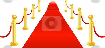Red Carpet and Velvet Rope stock photo, A red carpet and velvet rope with golden brass posts illustration. Representing luxury and v.i.p treatment. by Christos Georghiou