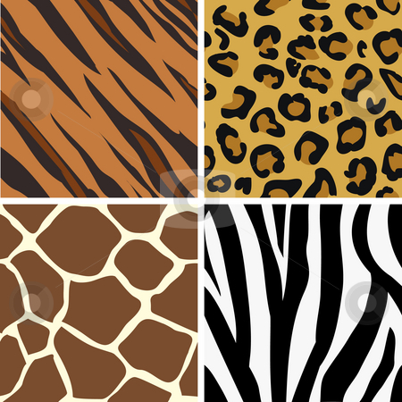 Animal print patterns stock photo, Seamless tiling animal print patterns of tiger, leopard, giraffe and zebra. Created especially to look at their best when tiled. by Christos Georghiou
