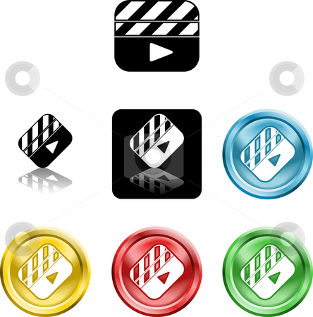 Film Clapper icon symbol stock photo, Several versions of an icon symbol of a stylised film clapper board by Christos Georghiou