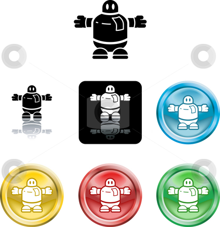 Robot icon symbol stock photo, Several versions of an icon symbol of a stylised robot by Christos Georghiou
